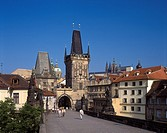 Charles Street Bridge and Mala Strana Tower in Old Town, Prague, Czech Republic. (Gothic Architecture).