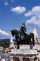 Hungary, Budapest, Fishermen´s Bastion, Saint Stephen´s Statue