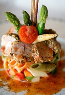 Stylized vegetable tuna pasta plate