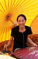 Thailand, Chiangmai, Umbrella Painting, Thai Girl
