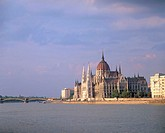 Hungary, Budapest, view at the city,  Parliament, river Danube,  Europe, Central Europe, Magyar Köztársaság, city, capital, sight, landmarks, building...