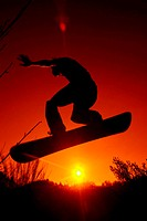 Silhouette, Snowboarder, jump,  Sunset, back light,   Teenager, man, young, 20-30 years, athletes, sport, winter sport, snowboarder, Snowboarden, athl...