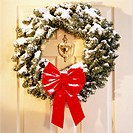 Holiday Wreath on Front Door