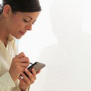Woman Using Personal Digital Assistant