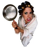 Housewife Brandishing Frying Pan