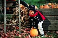Child Lifting a Pumpkin