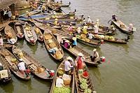 Floating market. Mekong Delta. Vietnam.