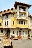 Sultanahmet district, typical architecture, street scene, carpet shop. Istanbul. Turkey