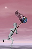 Extraterrestrial Alien Catching Earth in Net