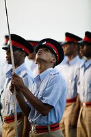 Grenada, St. George's, fort George, Police, parade, installation, police officer,  Flag, hoists, gaze upwards, no models release Caribbean, West India...