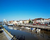 10253472, Germany, Europe, North Frisians, Husum, overview, canal, channel, harbour, port, land footbridge, boats,
