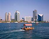 United Arabic emirates, Dubai,%0AHochhäuser, Creek, Boote%0A%0AVorderer Orient, Near east, near east, Arabic peninsula, Arabia, VAE, United Arab emira...