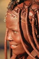 Namibia, Ovitjanke Okongo,  Himba-Frau, smiling, portrait, detail no models release Africa, North Namibia, Kaokoland, close to Opuwo,  Himba-Stamm, ha...