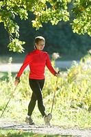 Forest path, woman, Nordic Walking, summer  Series, sportswoman, sportswear, athletically, movement sport sport, trend sport, run technology, sticks, ...