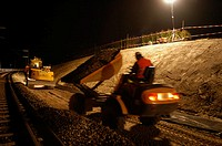 Night works. New railway line under construction, Zurich, Switzerland