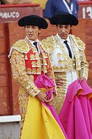 Spanish bullfighters Antonio Barrera (left) and Luis Miguel Vazquez (right) at bullring, Almagro. Ciudad Real, Spain (August 16, 2006)