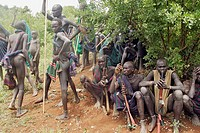 Donga ceremony. Surma tribe. Near Kibish. Ethiopia.