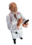 Doctor Using Electronic Organizer