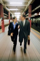 Businesspeople in Subway Station