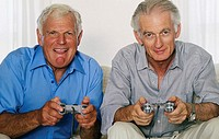 Senior Men Playing Video Game