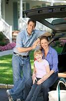 Family at Rear of Car