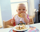 Toddler, eat   8-10 months, child, blond, high chair, Plastiklgabel, fork, dirty, smeared, drools, Eierspeise eat nutrition, food, meal, sweets Kaiser...