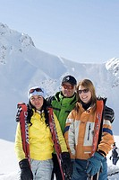 Mountains, Skipiste, ski instructors, women, laughing, group picture  Track, ski departure, friends, ski course, man,  Course participants, gaze camer...