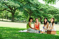 Young women having picnic, smiling at camera