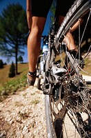 Mountains, grit way, Mountainbiker, Detail, legs,  Man, athletes, cyclists, terrains, mountain trip, uphill, Effort, bicycling, sport, cycling, Radtou...
