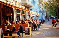 Germany, Berlin, Prenzlauer mountain, Kollwitz place, cafe,  City, row of houses, cafe, pub, Restaurant-Terrasse, Guests, tourists, gastronomy, destin...