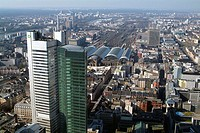Germany, Hesse, Frankfurt on the Main, view over the city, Dresdner bank tower,  Main train station  Europe, city, finance metropolis, Main metropolis...