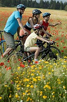 Flower meadow, family, bicycling, Rest, landscape, enjoying  Series, parents, 30-40 years, children, two, 9-14 years,  Driving wheels, Mountainbikes, ...
