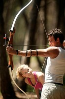 couple, archery, detail, on the side   Series, archers, 20-30 years, man, bow,  stretches, aims, envisages, concentration, woman, watches, sport, casu...