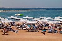Egypt, Hurghada, hotel LTI Dana Beach,  Hotel beach, swimmers,  Series, Africa, destination, destination, tourist goal, red sea, beach, sandy beach, p...