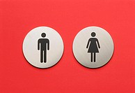 Toilet signs, pictograms, man,  Woman  Toilet, publicly, door doorplates signs, approximately, symbol couple silhouette, quietly life, background red