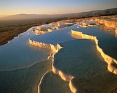 Turkey, Pamukkale, sinter terraces, Detail, dusk,  Anatolia, west Anatolia, lime sinter terraces, terraces, sinter lime, sinter lime subjects, lime te...