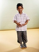boy, swarthily, smiling,  Gesture  Series, child, toddler, 4-6 years, dark-haired, Afro-americans, gaze camera shirt checkered, 7/8-Jeans, gym shoes, ...