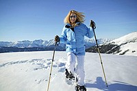 highland, woman, young, happy,  Snowshoe hiking, movement, Winters Austria, Jerzens, winter landscape, winter clothing, snowshoes, ski poles, locomoti...
