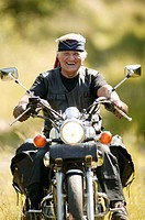 Senior, Motorradfahren, laughing, happy, truncated  Series, 60-70 years, pensioners, man, white-haired, headband, motorcycle, motorcyclists, joy, happ...