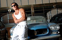 Garage, old-timers, Maserati, man,  muscular, muscle shepherd, leans  Series, 20-30 years, dark-skinned, dark-haired, southern, sun glass, durchtraini...