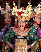 Indonesia, Bali, Legong-Tänzerinnen,  smiling, detail  Little one Sundainseln, island, women, three, Balinesinnen,  Dancers, folklore clothing, folklo...