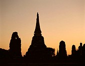 Thailand, Ayutthaya, silhouette, wade,  Mahathat, Chedi, evening mood  Asia, southeast Asia, temple installation, temple ruins, Temples, constructions...