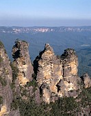 Australia, close to Sydney, Blue Mountains, Rock formation ´Three Sisters´  New South Wales, highland, mountains, rocks, Rock formations, landscape, n...