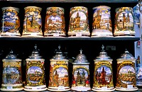 Czech republic, Prague,  Souvenir sale, beer mugs, different  souvenir shop, business, sale, souvenirs,  Jugs, paints, hand-paints, handicraft, pictur...