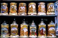 Czech republic, Prague,  Souvenir sale, beer mugs, different  souvenir shop, business, sale, souvenirs,  Jugs, paints, hand-paints, handicraft, pictur...