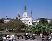 USA, Louisiana, New Orleans, Jackson,  Square, St. Louis Cathedral,  Horse carriages, tourists, North America, unified states southern states city old...