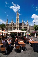 Austria, Vienna, town hall, town hall place, Street cafe, summer,   Capital, culture city, place, Restaurant-Terrasse, Cafe, background, town hall bui...