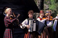 Republic Estonia, Tallinn, Rocca of al Mare, Estonian´s open-air museum, folklore, Musicians, summer, no models release Eurasia, Europe, north-east Eu...
