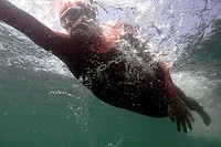 Triathlon, underwater reception,  Swimmers, Ben Sanson, swim cap,  Swimming glasses, wetsuit,  Before advertisement consultation!  Series, under water...