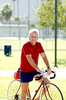 Man cycling in the park